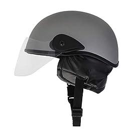 Western Era Half Helmet with Clear Visor for Men & Women ||Safety & Comfort|| Stylish Enhanced Design || (Large, Silver…