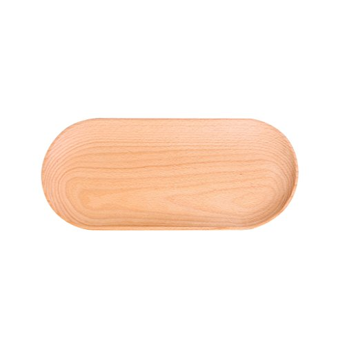 MagiDeal Large Oval Wooden Party Supplies Salad Snack Chips Fruit Storage Bowl Food Serving Dish Tray Platter - (Party Tray Oval Salad Bowl)