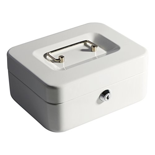 Decaller Cash Box with Money Tray, Metal Locking Money Box with Key Lock for Security, 7 4/5