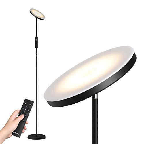 Tomons Staande lamp LED dimbaar, vloerlamp traploos dimbaar, 30W LED uplight met afstandsbediening, traploze…