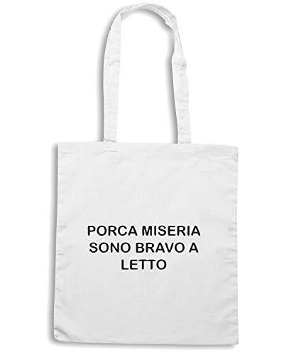 LETTO MISERIA A BRAVO Borsa PORCA SONO TDM00221 Shopper Bianca AwOqx8az