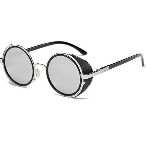 Dollger Steampunk Vintage Retro Round Sunglasses Metal Circle Frame (Silver Lens+Silver Frame,100% UV Protection Lens)