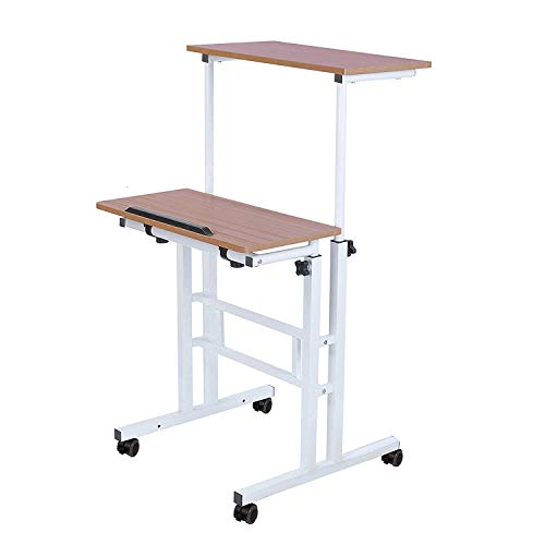 Qwork Mobile Stand up Height Adjustable Computer Desk Home Office Computer Workstation Tilting Table with Dual Surface Sit-Stand Wheels Desk Ergonomic Desk, Ancient Oak (Stand Workstation Mobile Adjustable)