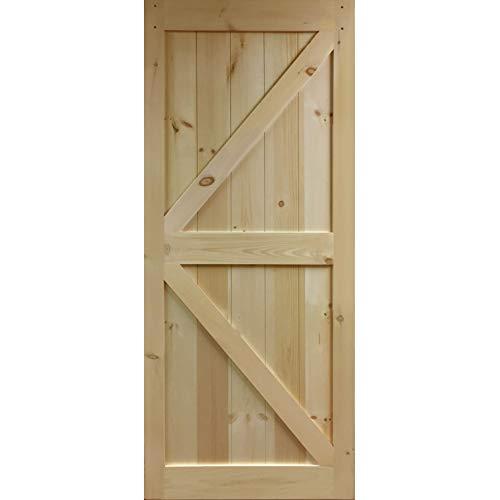 Barn Door Knotty - Barra de madera de pino en forma de K sin terminar, 83,5 x 30 pulgadas