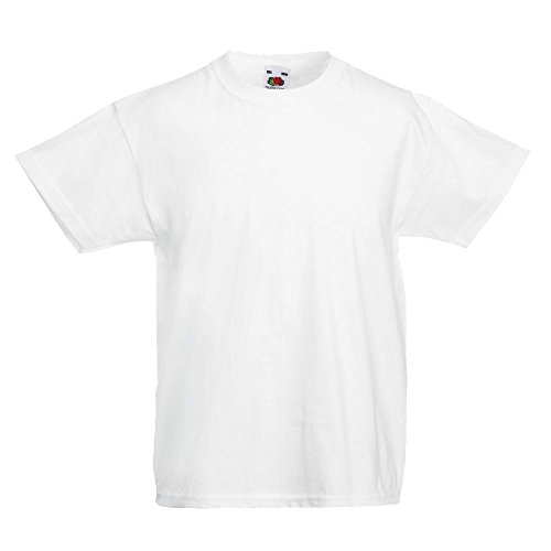 KINDER T-SHIRT FRUIT OF THE LOOM VALUE 128 140 152 164 152,Weiß 152,Wei?