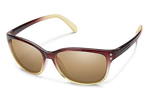 Suncloud Flutter Sunglasses, Brown Fade Frame/Sienna Mirror Polycarbonate Lens, One - Lenses Sunglass Cut Custom