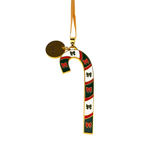 Holiday Jingles Candy Cane Ornament Christmas Tree Decoration | Gold-Plated Decorative Hanging Ornament with Ribbon | Collectible Christmas Decor with 2019 Charm Attached
