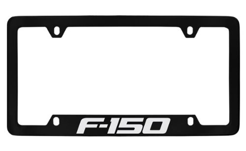 - Ford F-150 License Plate Frame (4 Hole / Brass, Black / Bottom)