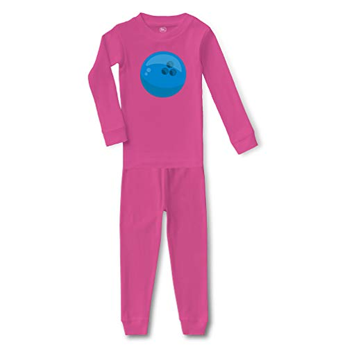 Bowling Ball Cotton Crewneck Boys-Girls Infant Long Sleeve Sleepwear Pajama 2 Pcs Set Top and Pant - Hot Pink, 12 Months