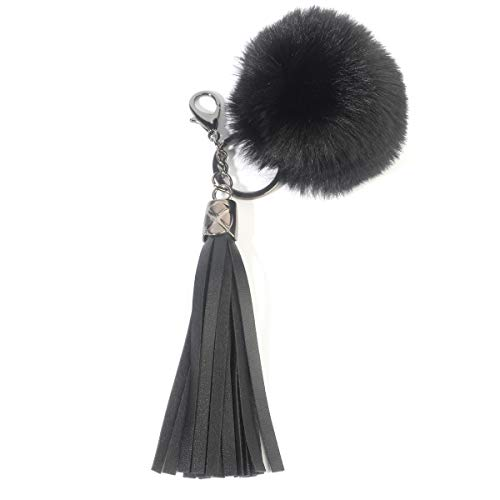 (Beaulegan Women Leather Keychain - Faux Fur Ball Tassel Key Chain for Car Keys and Bags Charm - 6.3 Inch Long, Black Gunmetal)