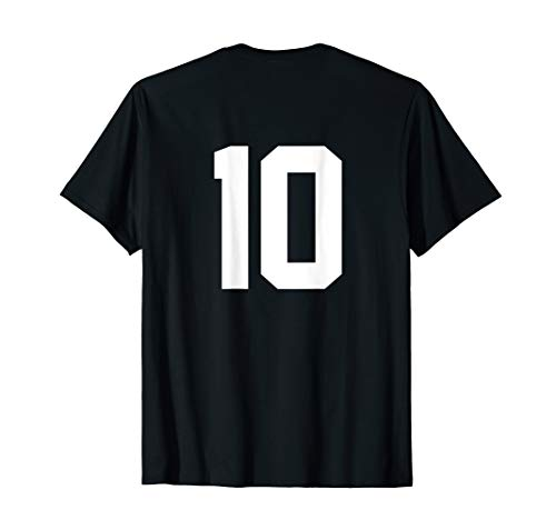10 Sports Jersey Number on Back T-Shirt for Team Fan Player