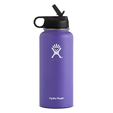 Hydro Flask Vacuum Insulated Stainless Steel Water Bottle Wide Mouth with Straw Lid (Plum, 32-Ounce)