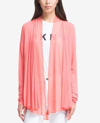 (DKNY Womens Drapey Collarless Open-Front Blazer Pink M/L)