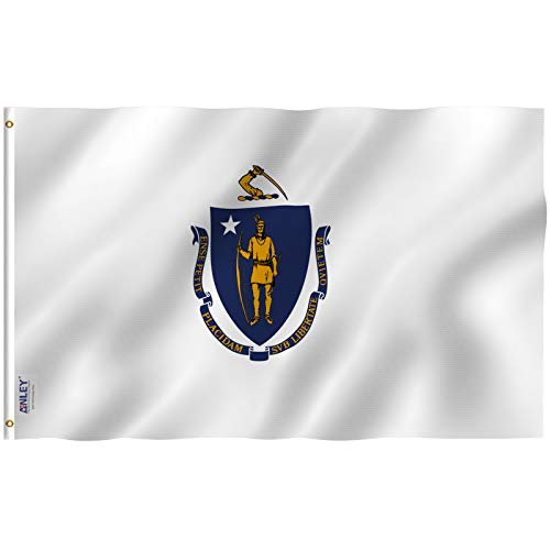 Anley Fly Breeze 3x5 Foot Massachusetts State Flag - Vivid Color and UV Fade Resistant - Canvas Header and Double Stitched - Massachusetts MA Flags Polyester with Brass Grommets 3 X 5 Ft