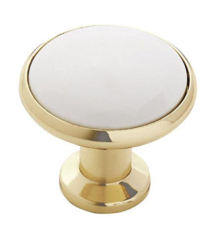 Amerock BP95130B Allison Value 1-3/16 in (30 mm) Diameter White/Polished Brass Cabinet Knob