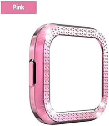 Clevoers Hülle Kompatibel mit Fitbit Versa 2 Schutzhülle Schutz, Diamonds Shiny Rhinestone Bumper, kratzfester Anti-Shatter Anti-Impact