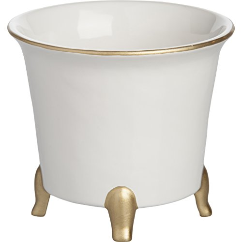 Jaipur Round Ceramic Pot Planter in White / Gold Finish 7.5'' H x 8.5'' W x 8.5'' D in.