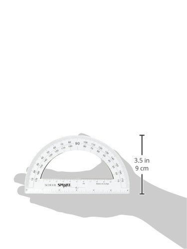 School Smart 0 - 180 deg Protractor with 6 in Ruler, Plastic, Clear, Pack of 12