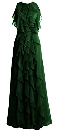 MACloth Women O Neck Long Bridesmaid Dress Chiffon Wedding Party Evening Gown (20w, Dark Green)