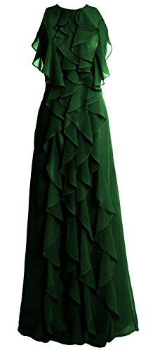 MACloth Women O Neck Long Bridesmaid Dress Chiffon Wedding Party Evening Gown (26w, Dark Green)