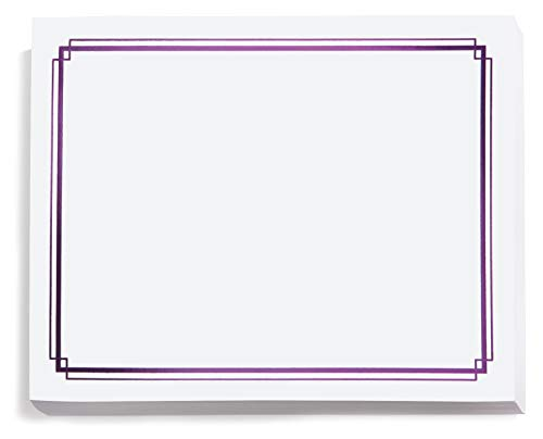 White with Dark Purple Foil Border Specialty Certificates, 8.5 Inches x 11 Inches, 50 Sheet -