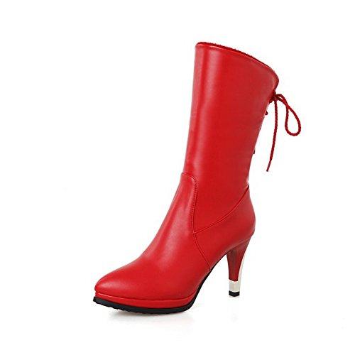 AllhqFashion Damen Rein Blend-Materialien Hoher Absatz Schnüren Rund Zehe Stiefel,Rot,36