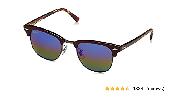 d2fed99ff6ba Amazon.com: Ray-Ban RB3016 Clubmaster Square Sunglasses: Clothing