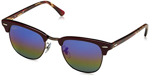 Ray-Ban Men's Clubmaster Mineral RB3016 1222C2 Non-Polarized Sunglasses, Bordeaux Red/Blue Rainbow Flash, 51 - Paris Sunglasses Red
