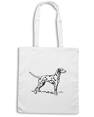 Speed Borsa Bianca Shopper Shirt DOG DALMATION WES0585 zZz0qxwR