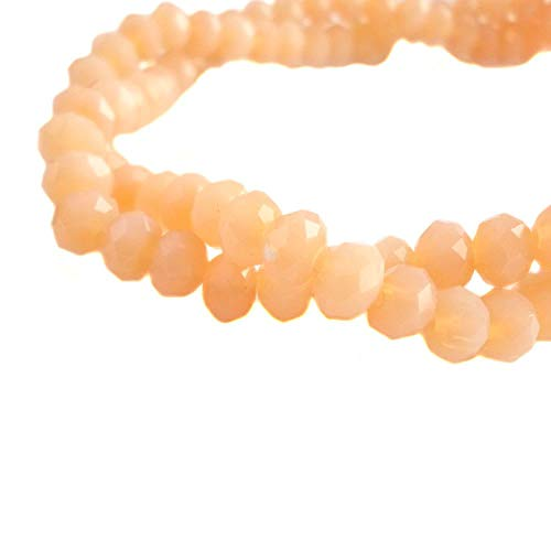 BeadsOne 4mm - 150 pcs - Glass Rondelle Faceted Beads Melon Orange for jewerly Making findings Handmade jewerly briolette Loose Beads Spacer Donut Faceted Top Quality 5040 ()