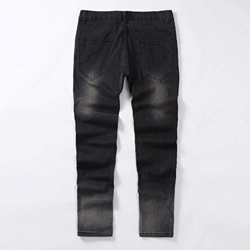 Uomo Slim Fit Jeans Pantaloni Ragazzo Strappati Aderenti Neri Da Nero Lunghi d0FFqH