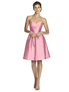 Alfred Sung Women's Strapless Cocktail Length Peau De Soie Dress by Twirl - Size 10