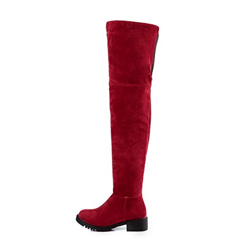 Solid Women's Allhqfashion Boots High Frosted Heels Red Zipper top Low YTgw1