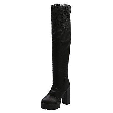 Toe CN39 For Shoes Boots Zipper US8 EU39 UK6 Women's RTRY Boots Combat Casual Heel PU Round Fall Chunky Black 7nvxU5wq