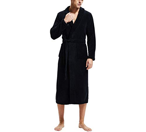 Bathrobe Men Thick Fleece Winter Male Dressing Gown Towel Sleepwear Solid Nightgown Kimono,Black,XXL