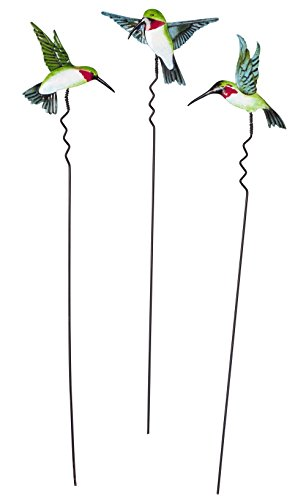Hummingbird Lawn Stakes, Set of 3 by Maple Lane (Hummingbird Garden Stake)