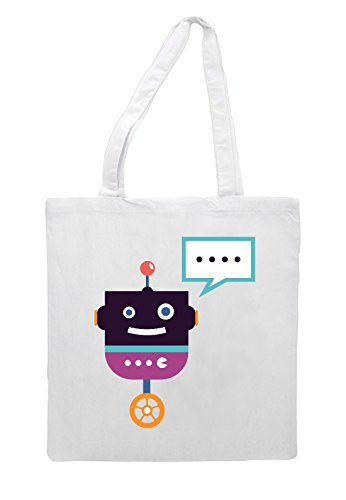 Full Vintage Nine Character Bag Tote Robot White Shopper zzwEqgp4