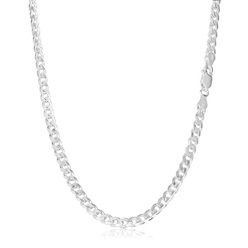 Link Chain 24 Inch Necklace - KEZEF Creations Italian 6.5mm Sterling Silver Cuban Curb Link Chain Necklace 24 inch