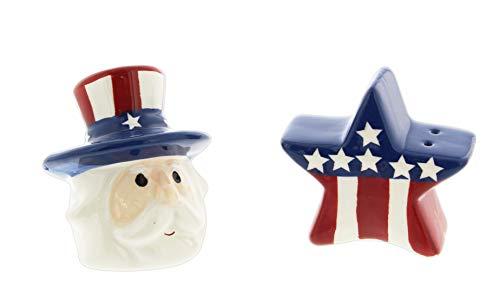 (Novelty Ceramic Salt & Pepper Shaker Set - Stars & Stripes Uncle Sam)
