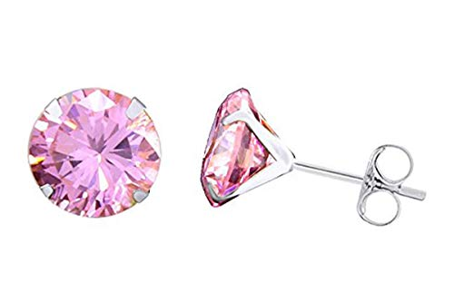14k White Gold 5mm Round Simulated Light Pink Tourmaline Stud Earrings