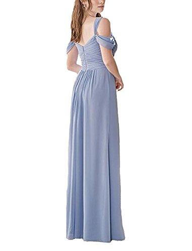 Lang Chiffon Abschlusskleider Brautjungfernkleider A mit Burgundy Schlitz Line Damen Abendkleider nTHqBxx
