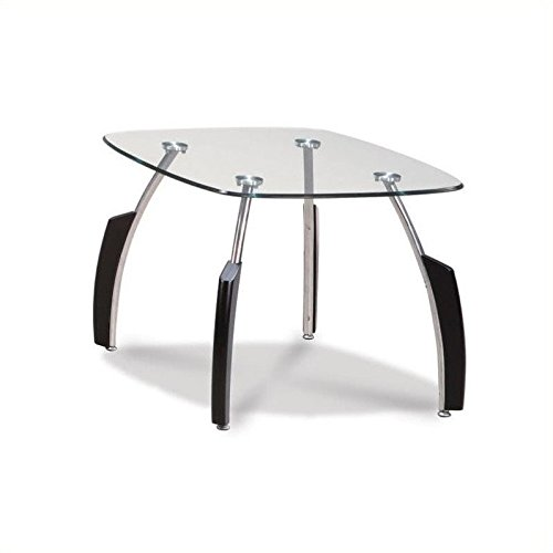(Global Furniture Clear/Silver Occasional End Table with Black Legs)