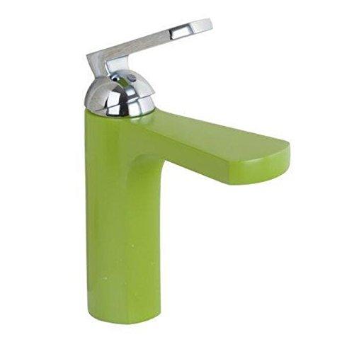 Mkkwp Lackierung Grün Bad Chrom Deck Mount einzigen Griff Waschbecken Waschbecken Schiff tippen Sie auf Mischpult Wasserhahn