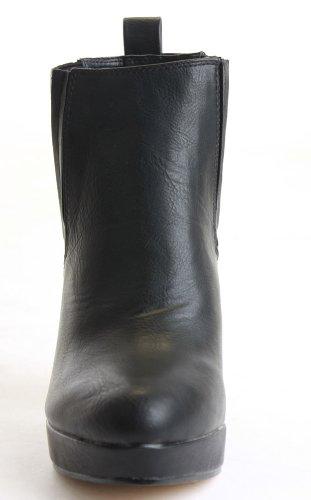 WOMENS LADIES HEELED CHELSEA BOOTIES PLATFORM WINTER BLOCK MID HIGH HEEL ANKLE BOOTS SIZE 3-8 Style B - Black Matt PFnZX5pAF