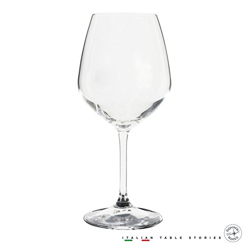 Bormioli Rocco 18oz Red Wine Glasses (Set Of 4): Crystal Clear Star Glass, Laser Cut Rim For Wine Tasting, Lead-Free Cups, Elegant Party Drinking Glassware, Dishwasher Safe, Restaurant Quality by Bormioli Rocco
