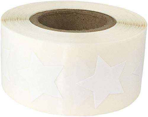 White Star Stickers, 3/4 Inch Wide, 500 Labels on a Roll