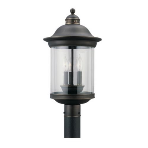 Sea Gull Lighting 82081-965 Hermitage Three-Light Outdoor Post Lantern with Clear Glass Shade, Antique Brushed Nickel Finish