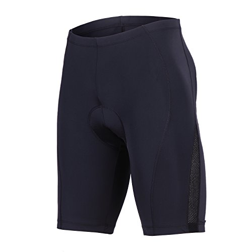beroy Men's Bicycle Cycling Padded Shorts Blue Panels Biking Bike Pants(Black,XXXL)
