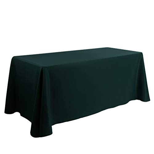 Waysle 90 x 156-Inch Oblong Tablecloth, 100% Polyester Washable Table Cloth with Round Corner for 8Ft. Rectangle Table, Hunter Green