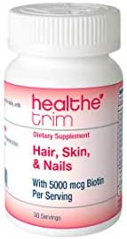Healthe Trim Hair, Skin & Nails supplement for women/men- Powerful vitamins with biotin. Promotes growth for stronger hair and nails while protecting the skin. 30 servings